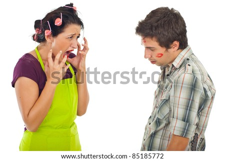 Angry housewife arguing with her unfaithful husband over white background - stock photo