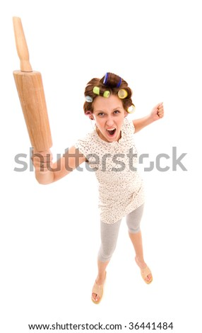 Angry housewife on a white background - stock photo