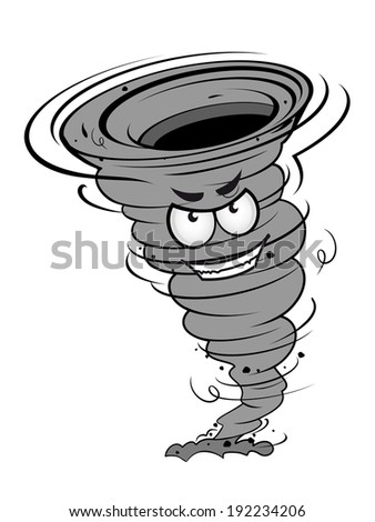Angry hurricane disaster in cartoon mascot style for weather concept design. Vector version also available in gallery - stock photo