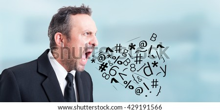 Angry irritated businessman screaming and shouting out loud with symbols and letters coming out of his mouth as insulting concept - stock photo