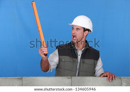 angry laborer - stock photo