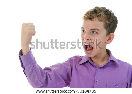 Angry little boy. Isolated on a white background - stock photo