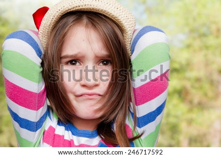 Angry little girl - stock photo