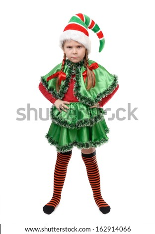 Angry little girl - Santa's elf. Isolated on a white background - stock photo