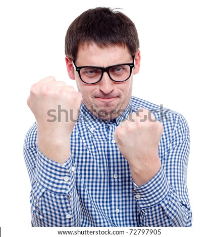 Angry man. Isolated over white. - stock photo