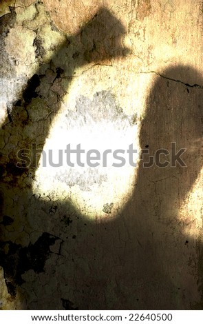 Angry man shadow grunge texture background illustration. - stock photo