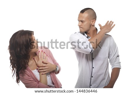 Angry Man Slapping Woman On White Background