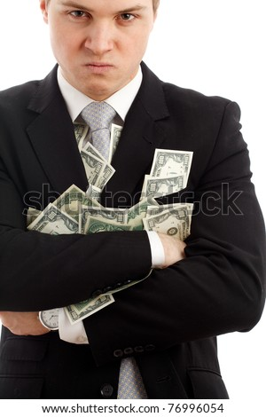 Angry man with many dollars. Isolated over white. - stock photo