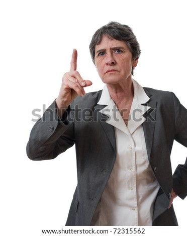 angry mature businesswoman with forefinger up isolated on white background