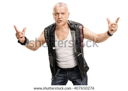Angry mature punk rocker gesturing with his hands isolated on white background