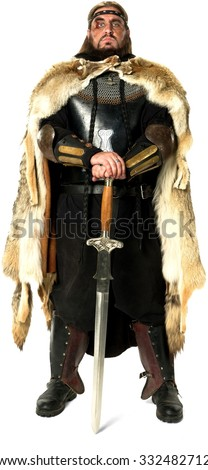 Angry Medieval Warrior with long medium brown hair  holding sword - Isolated - stock photo