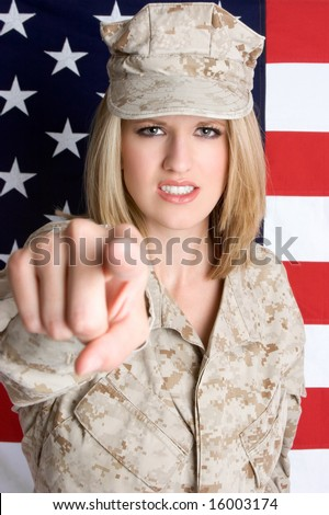 Angry Military Woman - stock photo