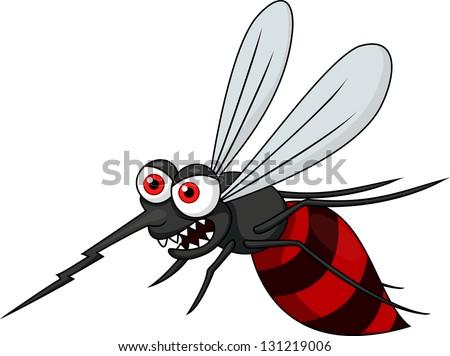Angry mosquito cartoon - stock photo