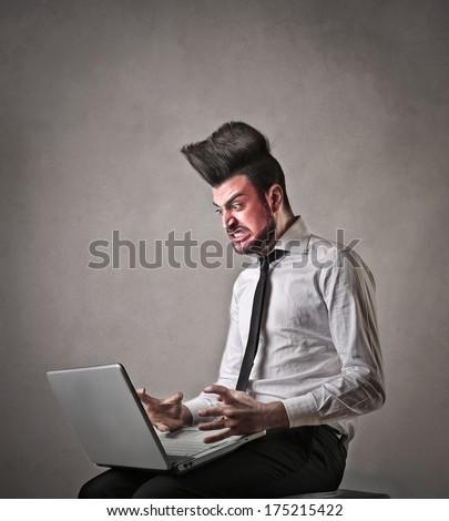 angry nerd - stock photo
