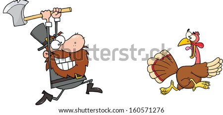 Angry Pilgrim Chasing With Axe A Turkey. Raster Illustration - stock photo