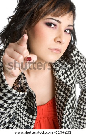 Angry Pointing Woman - stock photo