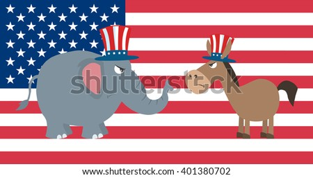 Angry Political Elephant Republican Vs Donkey Democrat Over USA Flag. Raster Illustration Flat Design Style