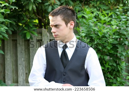 Angry Prom Boy - stock photo