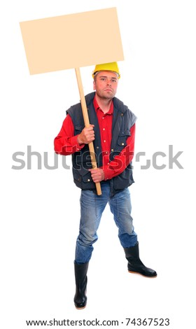 Angry protesting worker with blank protest sign. - stock photo