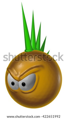 angry punk smiley on white background - 3d illustration - stock photo