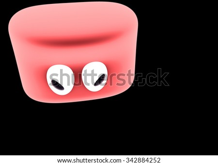 Angry red slime character - stock photo