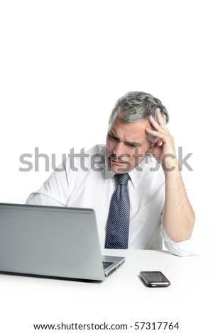 angry sad senior gray hair businessman laptop computer hand gesture - stock photo