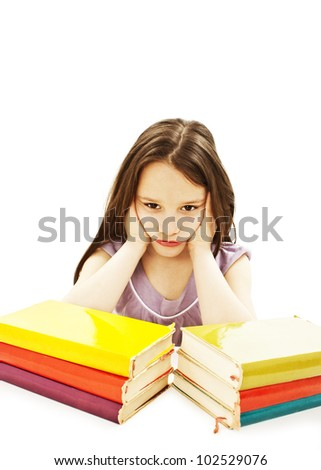 Angry schoolgirl with learning difficulties. Isolated on white background - stock photo