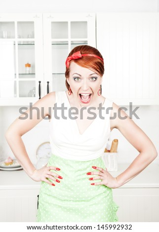 Angry screaming housewife  - stock photo