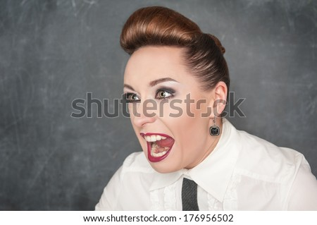 Angry screaming woman  - stock photo