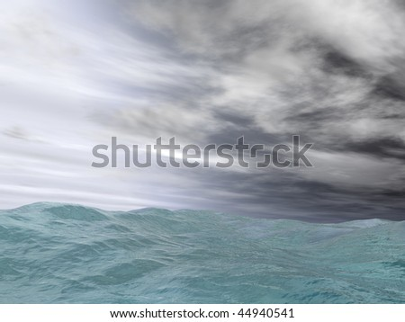 Angry sea with cloudy hurricane storm sky. - stock photo