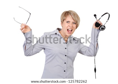 angry shouts into microphone businesswoman - stock photo