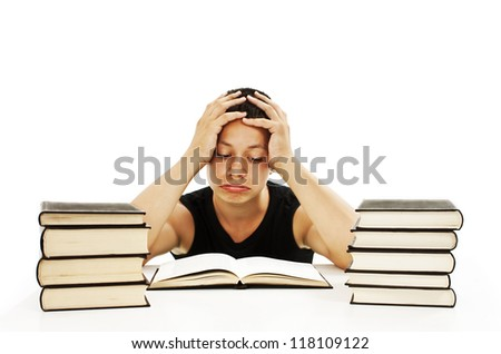 Angry student with learning difficulties. Isolated on white background - stock photo