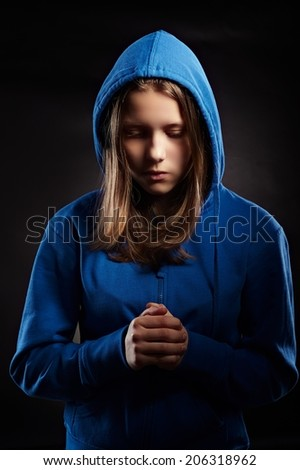 Angry teen girl badly gesturing - stock photo