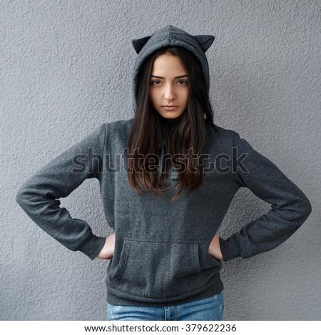 angry teenage girl suspected something was wrong - stock photo
