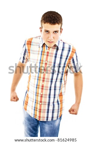 Angry teenager. All on white background.