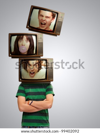 Angry Television Head Man Portrait
