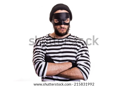 Angry thief with mask isolated on white background   - stock photo