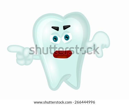 Angry tooth funny cartoon illustration children dentist