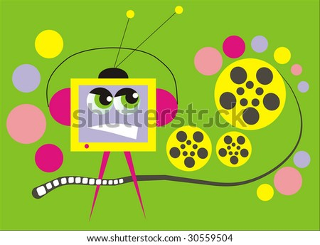 angry tv set over green background with colorful circles, vector illustration - stock photo
