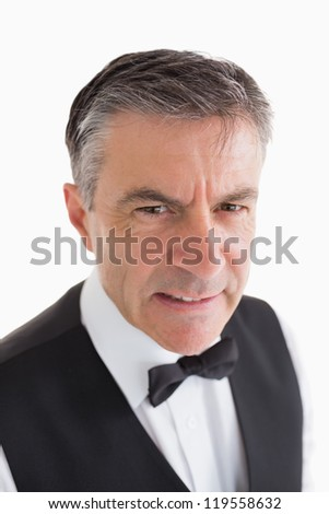 Angry waiter on white background