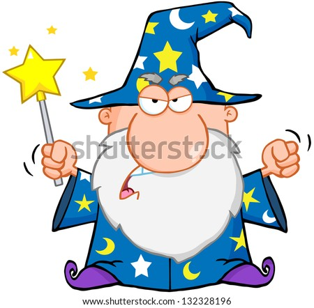 Angry Wizard Waving With Magic Wand. Raster Illustration.Vector Version Also Available In Portfolio. - stock photo