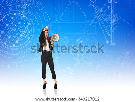 Angry woman builder with helmet and megaphone on the blue backgroung