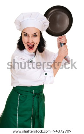 Angry woman chief threaten by pan isolated on white - stock photo