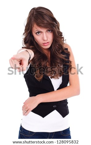 Angry woman pointing to camera, white background - stock photo