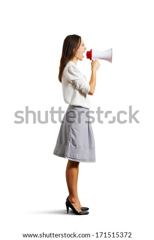 angry woman shouting at megaphone. isolated on white background