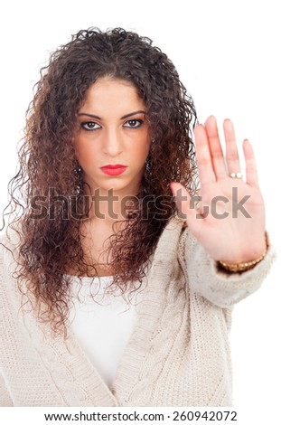 Angry woman with curly hair saying Stop isolated on a white background - stock photo