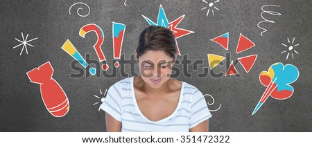 Angry woman with eyes closed against grey room