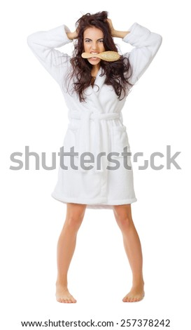 Angry woman with tangled hair isolated - stock photo