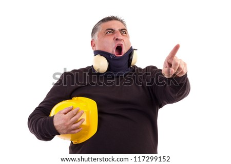 Angry worker pointing at something and screaming. White background - stock photo