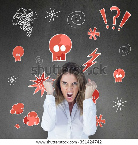 Angry yelling businesswoman against grey room - stock photo
